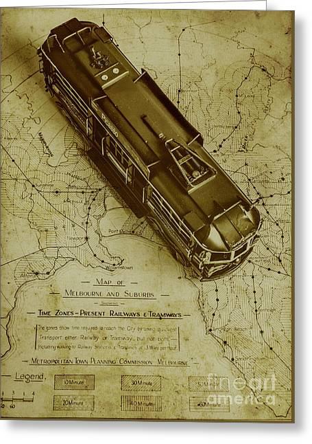 Replicating Past Tram Transit Greeting Card