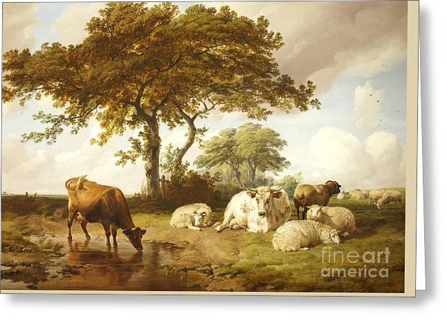 Repose In The Meadows, Greeting Card by Thomas Sidney Cooper