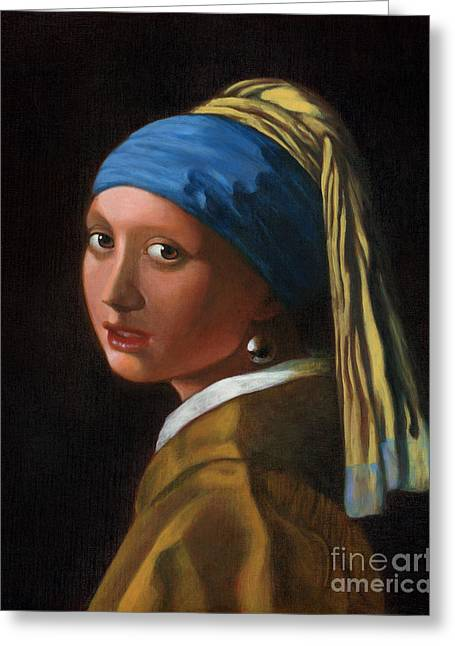 Reproduction - Johannes Vermeer - Girl With A Pearl Earring Greeting Card by Brandy Woods