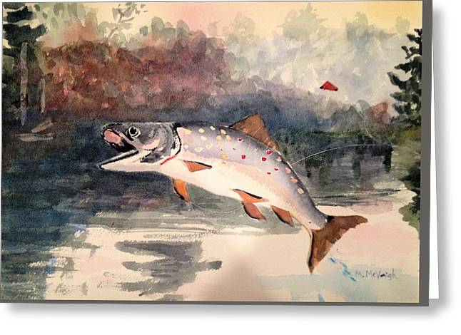 Reproduction Of Winslow Homer Leaping Trout Greeting Card by Marita McVeigh