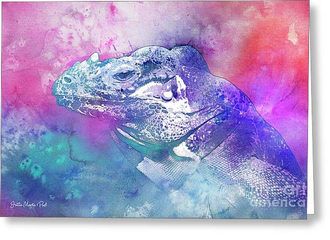 Greeting Card featuring the mixed media Reptile Profile by Jutta Maria Pusl