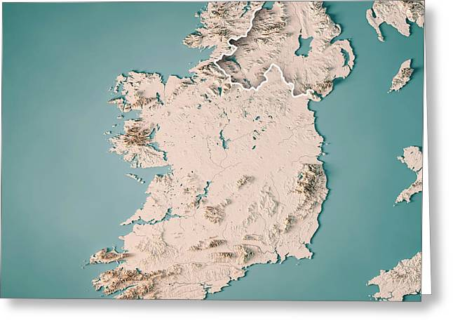 Republic Of Ireland Country 3d Render Topographic Map Neutral Greeting Card