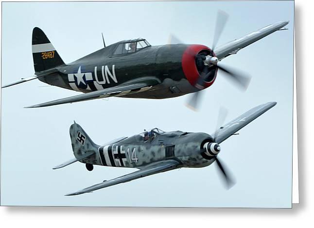 Republic P-47g Thunderbolt Nx3395g Focke Wulf Fw 190a-9 N190rf Chino California April 30 2016 Greeting Card by Brian Lockett