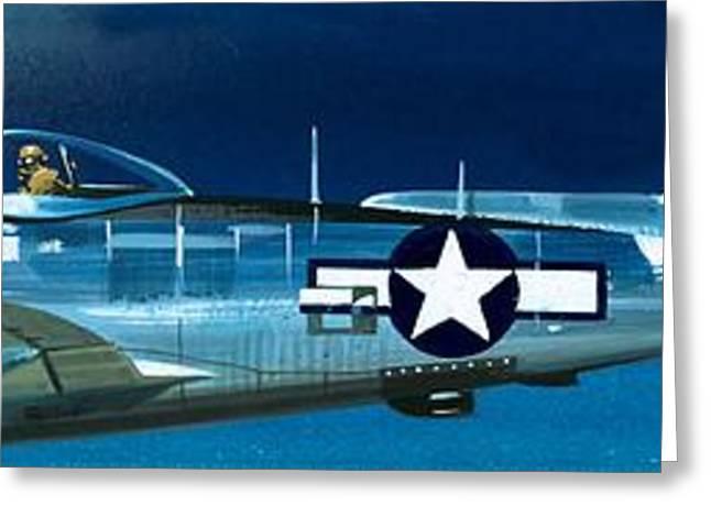 Republic P-47n Thunderbolt Greeting Card by Wilf Hardy