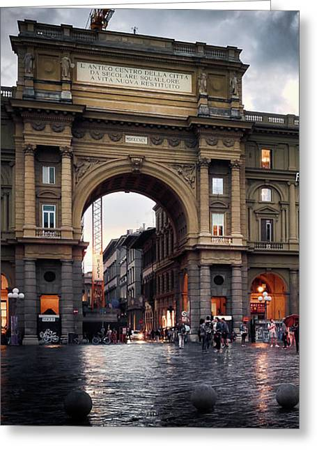 Republic Square In The City Of Florence Greeting Card