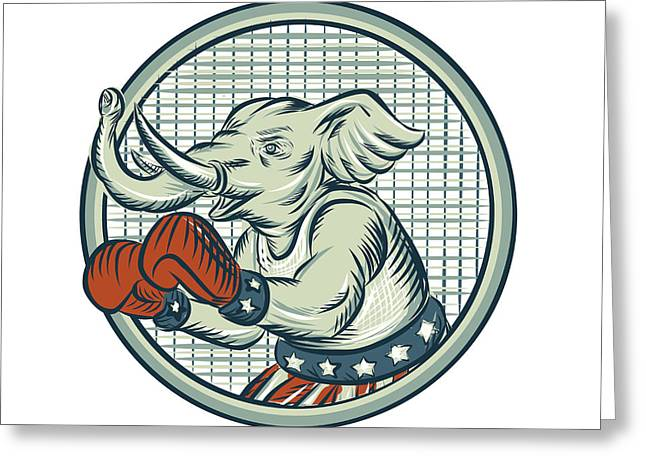 Republican Elephant Boxer Mascot Circle Etching Greeting Card by Aloysius Patrimonio