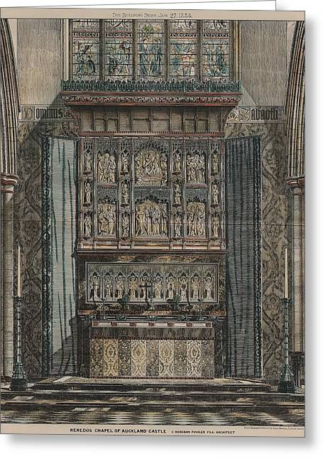 Reredos Chapel Of Aukland Castle 1884 Greeting Card by Dodgson Fowler