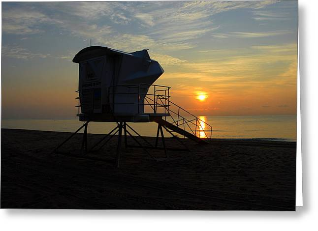 Rescue Tower Sunrise Greeting Card by Zachary Liaros