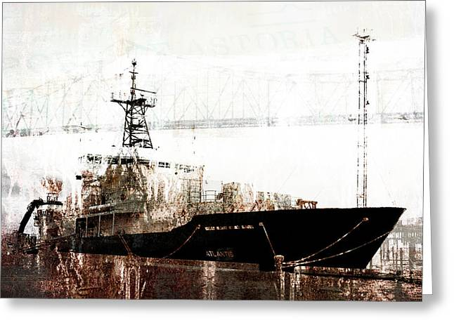 Research Vessel Atlantis In Astoria Oregon Greeting Card