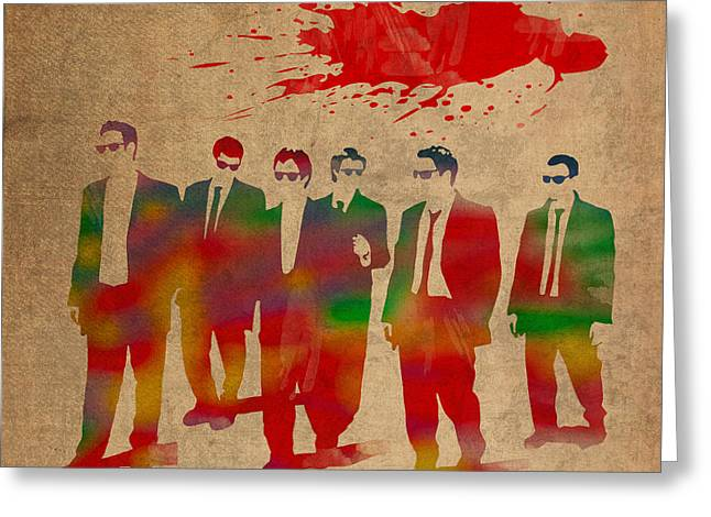 Reservoir Dogs Movie Minimal Silhouette Watercolor Painting Greeting Card