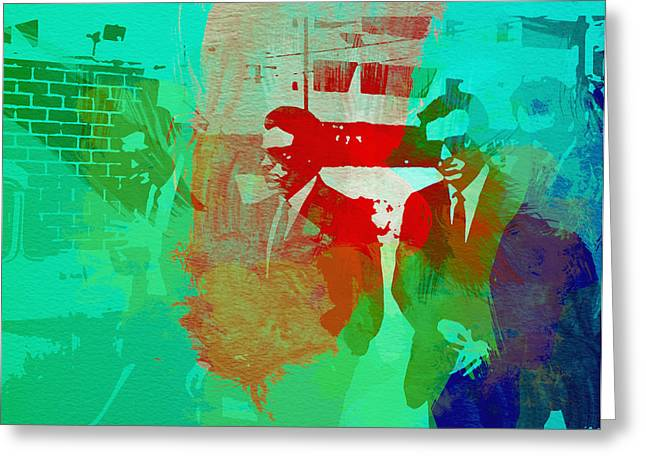 Film Watercolor Greeting Cards - Reservoir Dogs Greeting Card by Naxart Studio
