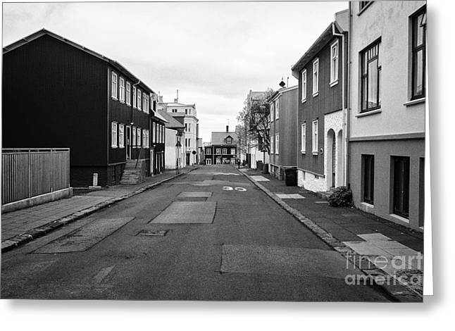 Residential Street With Multi Storey Corrugated Iron Clad Buildings Reykjavik Iceland Greeting Card