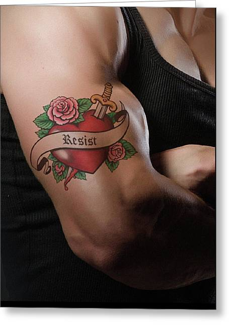 Resistance Tattoo Greeting Card by Susan Maxwell Schmidt