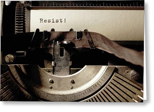 Resistance Typewriter Greeting Card by Susan Maxwell Schmidt