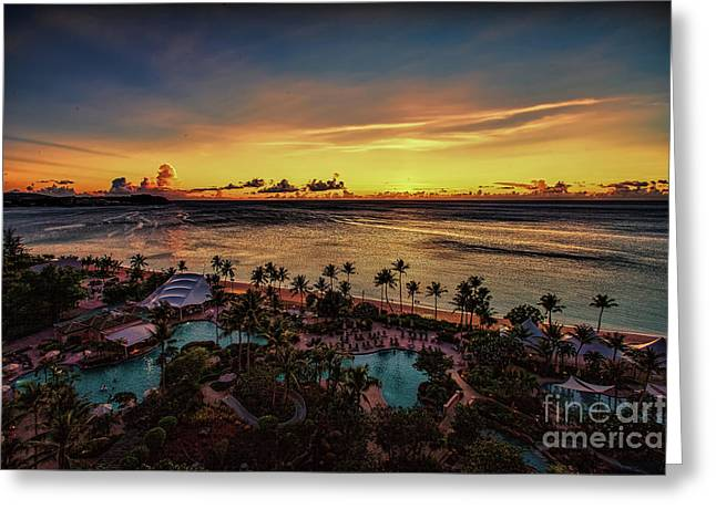 Greeting Card featuring the photograph Resort Sunset by Ray Shiu