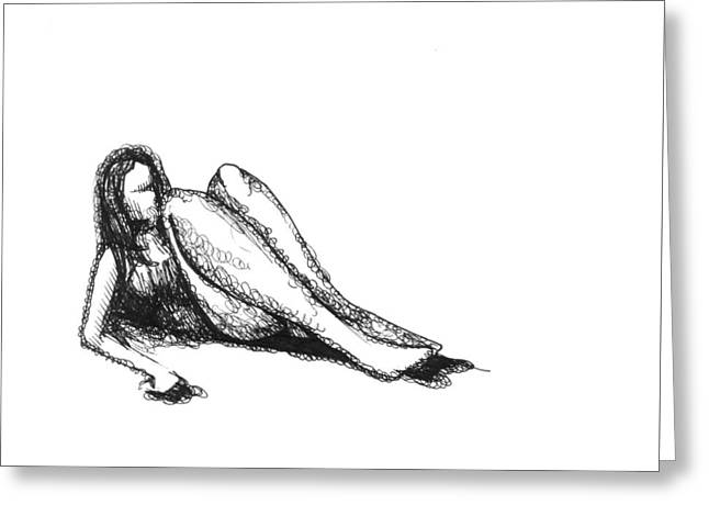 Greeting Card featuring the drawing Respite by Keith A Link