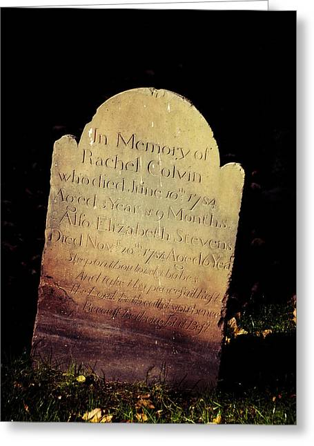Rest In Peace Rachel Colvin Greeting Card by Trish Tritz