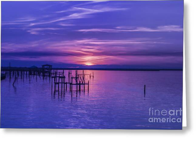 Rest Well World Purple Sunset Greeting Card