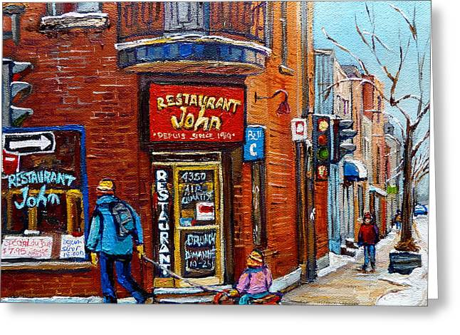 Restaurant John Montreal Greeting Card