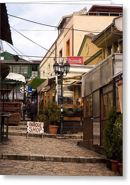Restaurants In The Bazaar Greeting Card by Rae Tucker