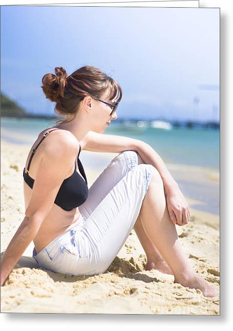 Resting Beach Babe Greeting Card by Jorgo Photography - Wall Art Gallery