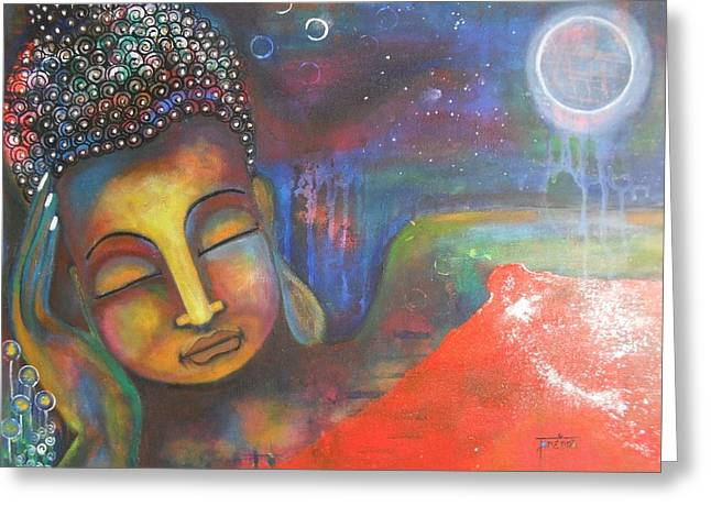 Buddha Resting Under The Full Moon  Greeting Card by Prerna Poojara
