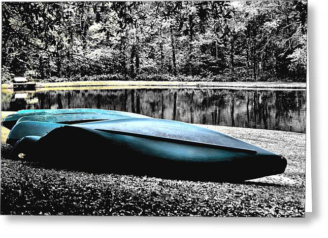 Resting Canoes Greeting Card by Greg Sharpe