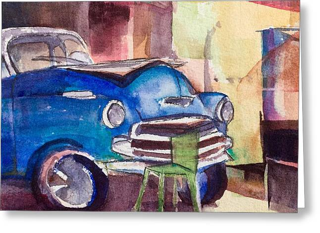 Resting Chevy With Green Chair Greeting Card