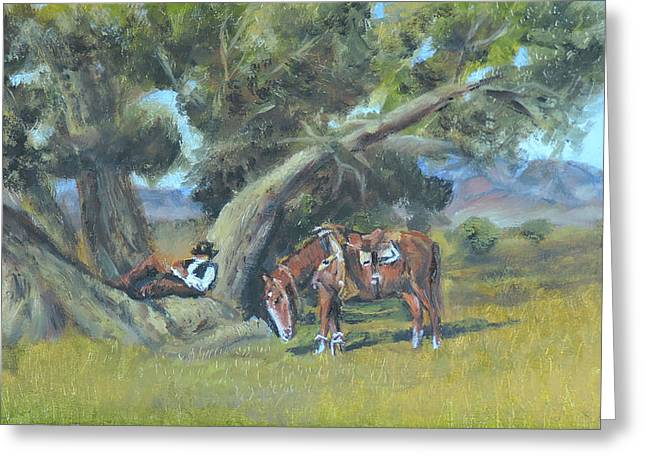 Resting Cowboy Painting A Study Greeting Card