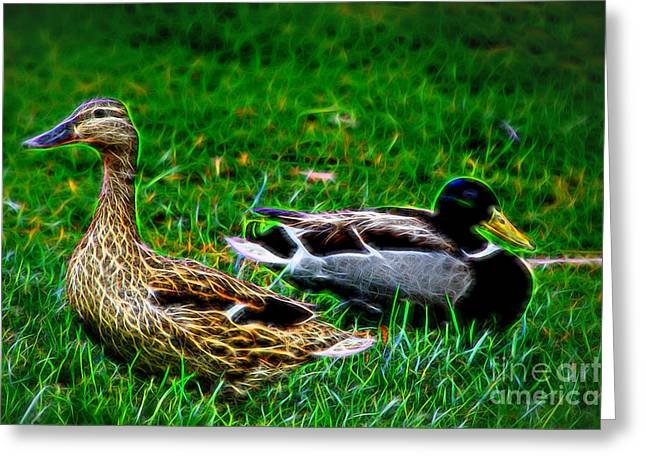 Greeting Card featuring the photograph Resting Ducks by Mariola Bitner