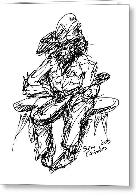 Resting Guitarist Greeting Card by Sam Chinkes