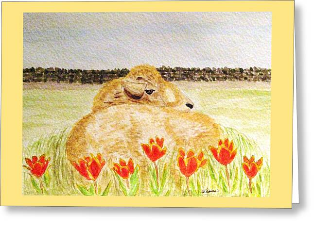 Resting In The Tulips Greeting Card by Angela Davies