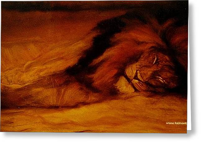 Resting Lion Greeting Card by Arlene Rabinowitz