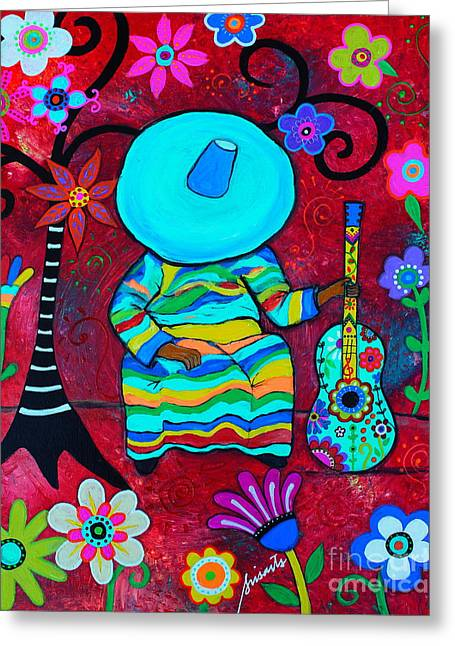 Greeting Card featuring the painting Resting Mariachi by Pristine Cartera Turkus