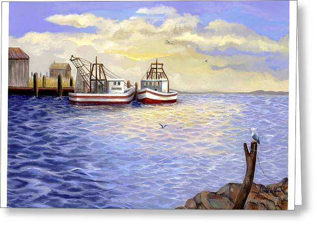 Greeting Card featuring the painting Resting Nets by Sena Wilson