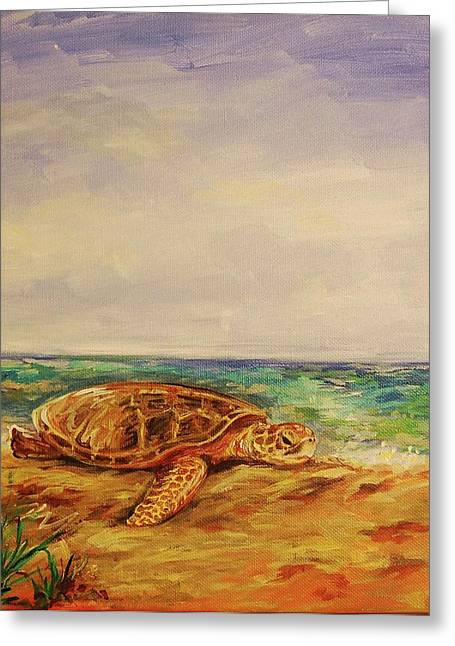 Resting Sea Turtle Greeting Card by Danielle Hacker