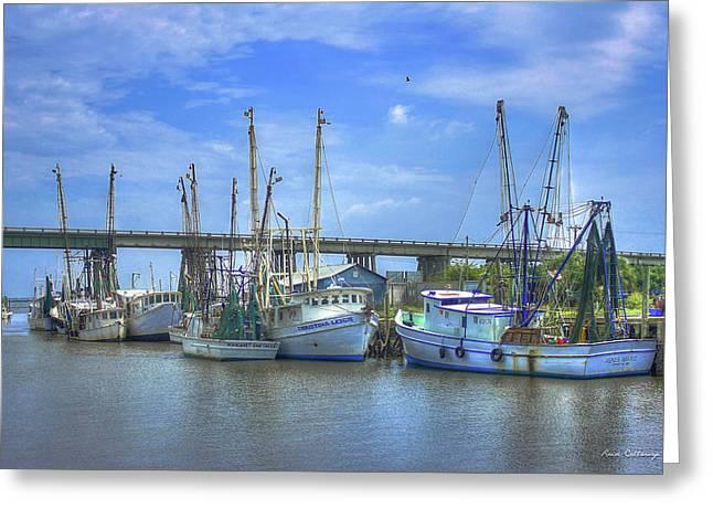 Resting Shrimp Boats Tybee Island Georgia Art Greeting Card by Reid Callaway