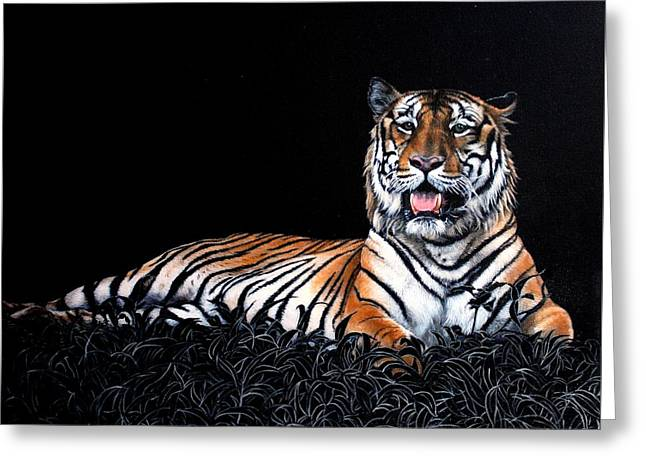 Resting Tiger Greeting Card by Susana Falconi