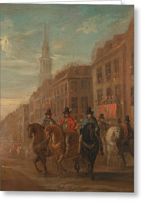 Restoration Procession Of Charles II At Cheapside Greeting Card