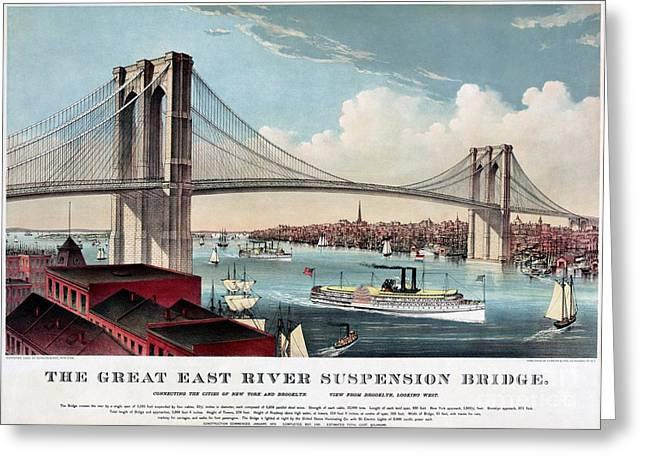 Restored Antique East River Suspension Bridge Ny Greeting Card