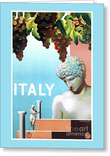 Restored Italy Vintage Travel Poster Greeting Card by Carsten Reisinger