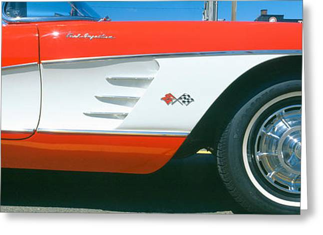 Restored Red 1959 Corvette, Fender Greeting Card