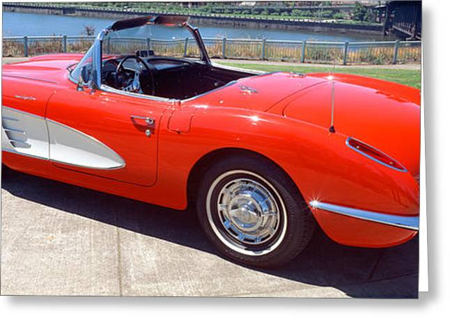 Restored Red 1959 Corvette, Side View Greeting Card