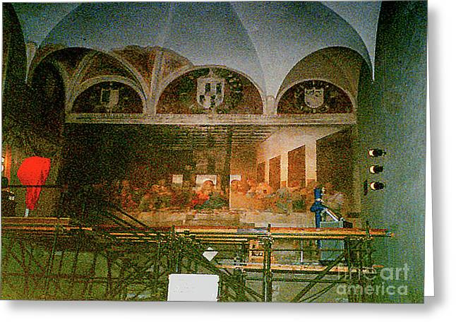 Greeting Card featuring the photograph Restoring Divinci's Last Supper - Milan, Utaly by Merton Allen