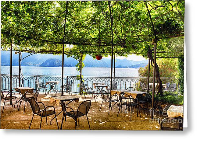 Tables On A Patio Under A Trellis Greeting Card by George Oze