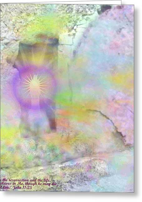 Greeting Card featuring the photograph Resurrection Moment Garden Tomb Vision With  Inspirational Verse  by Anastasia Savage Ealy