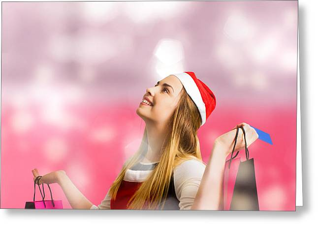 Retail Christmas Holiday Woman With Store Bags Greeting Card