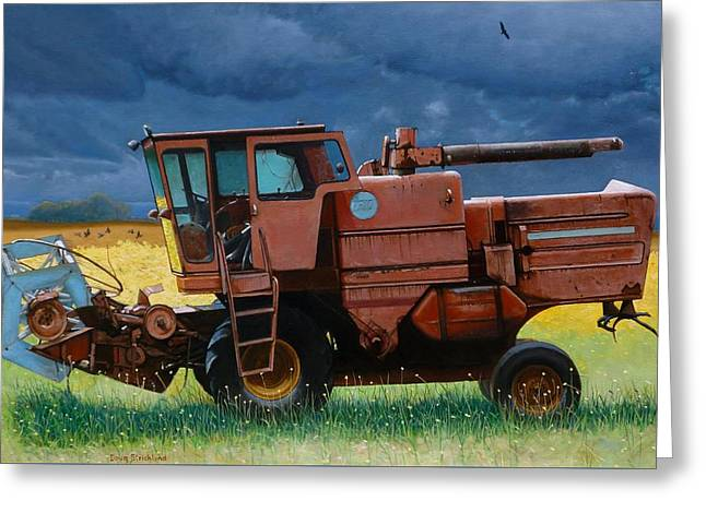 Retired Combine Awaiting A Storm Greeting Card by Doug Strickland