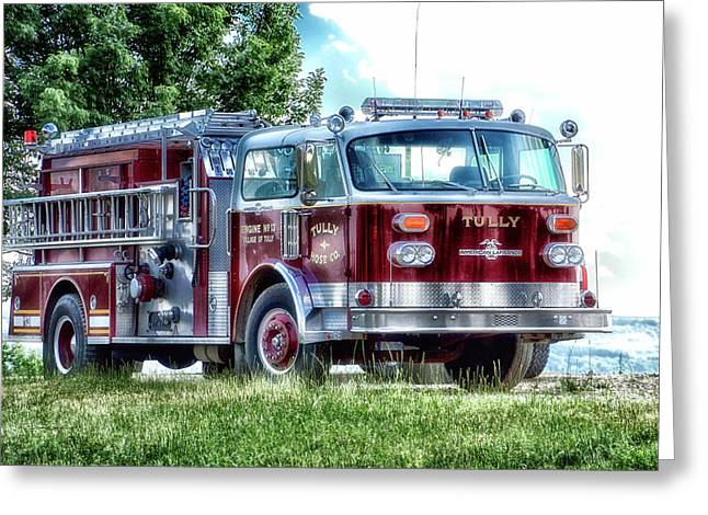 Retired Fire Truck  Engine 13 Village Of Tully New York Greeting Card by Thomas Woolworth