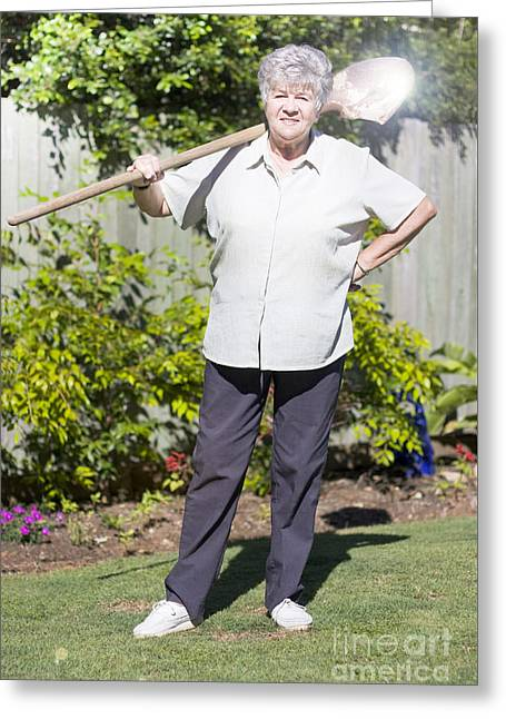 Retired Woman With Shovel Greeting Card by Jorgo Photography - Wall Art Gallery